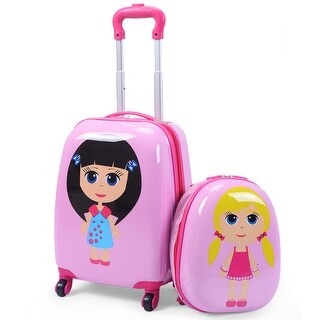 Costway 2Pc 12'' 16'' Kids Girls Luggage Set Suitcase Backpack School Travel Trolley ABS - Pink