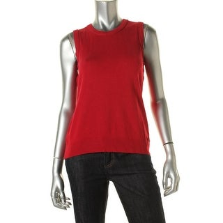 Calvin Klein Womens Ribbed Trim Sleeveless Pullover Sweater - S
