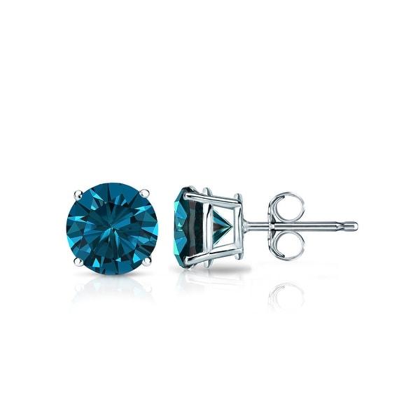 14k Gold Round  Blue Diamond Stud Earrings 4-Prong Basket (1/4 - 2 ct, Blue, I1-I2) Push Back