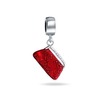 Bling Jewelry 925 Silver Red Purse Clutch Dangle Charm Bead