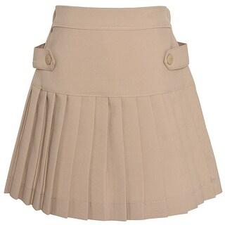 Class 102 Girls Khaki Pleated Button Tab Detail School Uniform Skirt