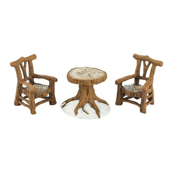 Department 56 Snow Village Woodland Table & Chairs 3-Pc Accessory Set #40323838