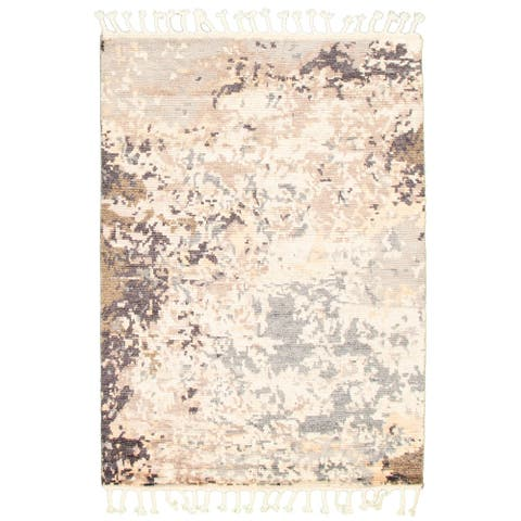 ECARPETGALLERY Hand-knotted Arlequin Ivory Wool Rug - 5'9 x 7'11