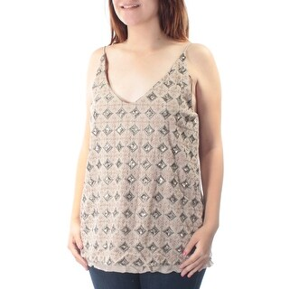 LUCKY BRAND $129 Womens New 1407 Beige Geometric Sequined Embroidered Top M B+B
