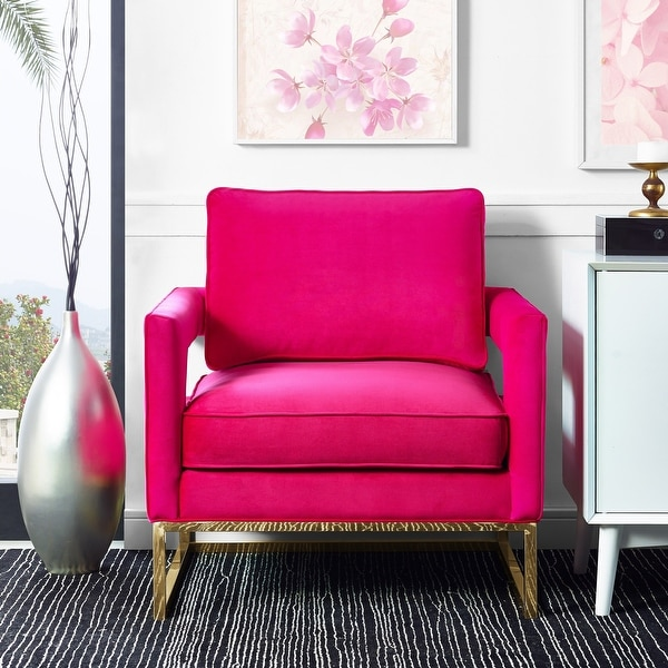 Avery Pink Velvet and Stainless Steel Chair. Opens flyout.