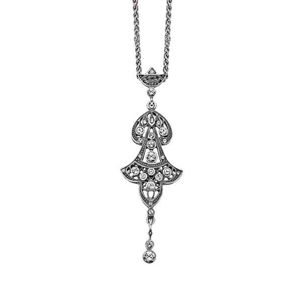 Van Kempen Victorian Swarovski Crystals Pendant in Sterling Silver - White