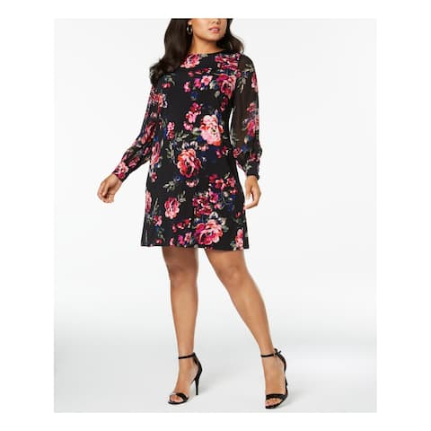 MSK Womens Black Printed Long Sleeve Crew Neck Knee Length A-Line Dress Plus Size: 24W