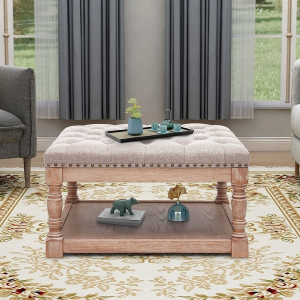 """Maypex 30"""" Shelved Tufted Square Cocktail Ottoman. Opens flyout."""