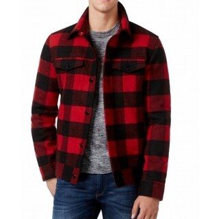American Rag NEW Red Black Plaid Mens Size Large L Button-Front Jacket