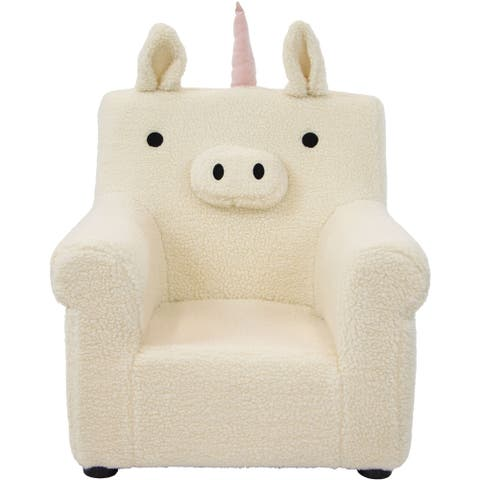 Critter Sitters 20-In. Plush White Unicorn Animal Shaped Mini Chair -Furniture for Nursery, Bedroom, Playroom, Living Room