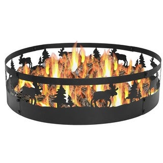 Sunnydaze Wild Moose Campfire Ring, 36 Inch Diameter - Black
