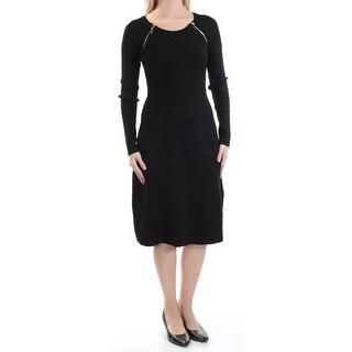 INC Womens Black Zippered Textured Long Sleeve Jewel Neck Below The Knee Sheath Dress  Size: S