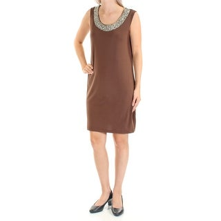 Womens Brown Sleeveless Above The Knee Shift Dress Size: 6
