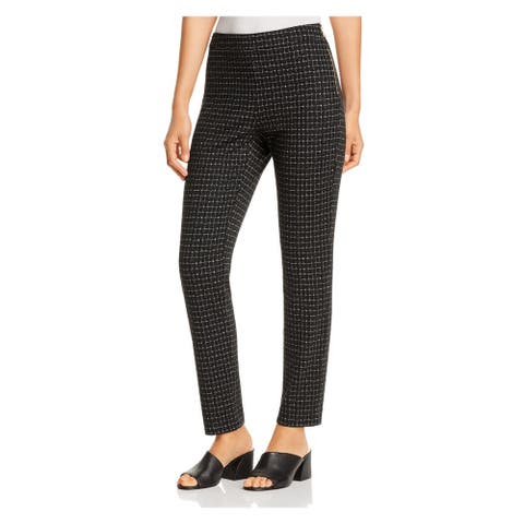 DONNA KARAN Womens Black Patterned Skinny Wear To Work Pants Size 8