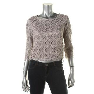 Marina Womens Metallic Crochet Dress Top