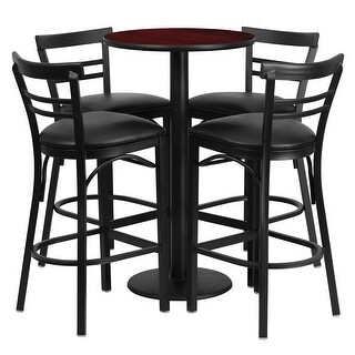 Offex 24'' Round Mahogany Laminate Table Set with 4 Ladder Back Bar Stools - Black Vinyl Seat [OF-RSRB1034-GG]