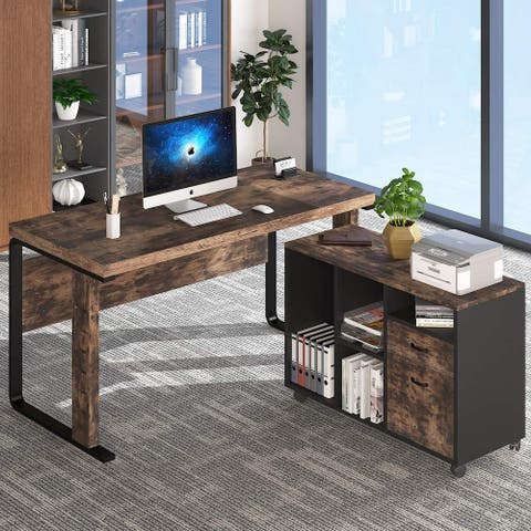L-Shaped Computer Desk, 55 inch Executive Office Desk Workstation with Letter Size File Cabinet