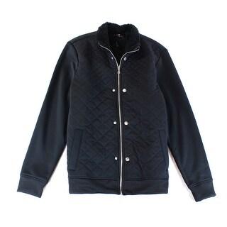 INC NEW Black Mens Size Medium M Full Zip Quilted Faux-Fur Jacket