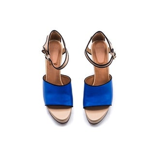 Givenchy Women's Blue Leather Wedge Sandals