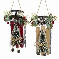 "Club Pack of 12 Sled with Tree Hanging Christmas Ornaments 6.25"" - RED"