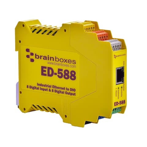 Brainboxes ED-588 Brainboxes ED-588 Ethernet to Digital IO 8 Inputs + 8 Outputs - 1 x Network (RJ-45) - 1 x Serial Port - Fast