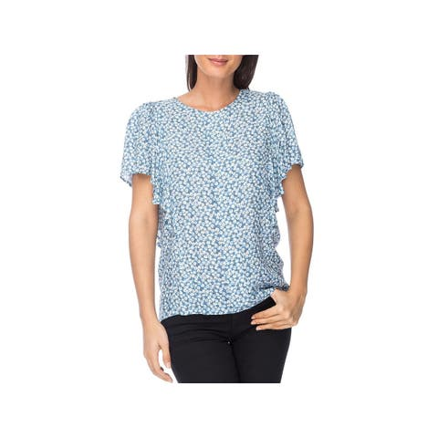 Bobeau Womens Acacia Casual Top Floral Print Flutter Sleeves