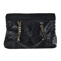 Roberto Cavalli Black  Leather Calf Hair Foldover Satchel