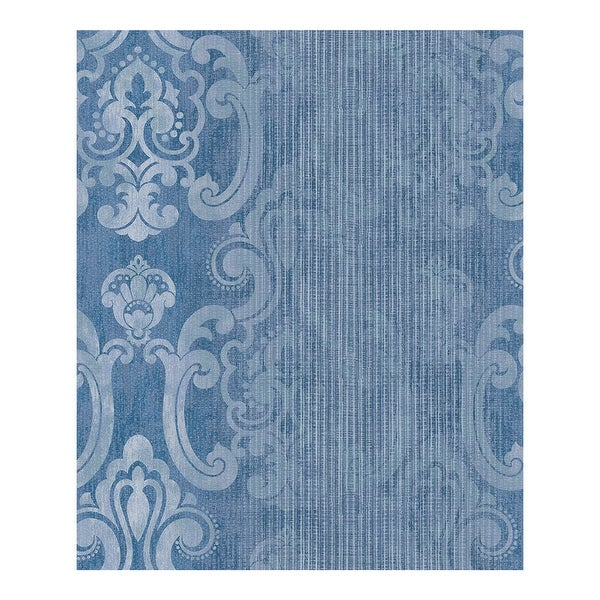 Ariana Dark Blue Striped Damask Wallpaper - 21 x 396 x 0.025. Opens flyout.