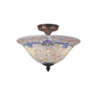 "Dale Tiffany TM100553 14"" x 10.5"" Johana Mosaic Flush Mount from the Mosaic Collection"