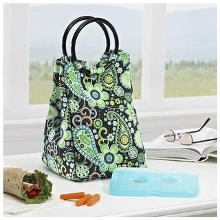 Retro Insulated Designer Bag, Includes Ice Pack - Green Paisley