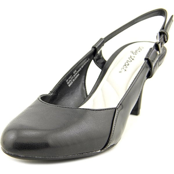 Easy Street Kyla Women WW Round Toe Leather Black Slingback Heel