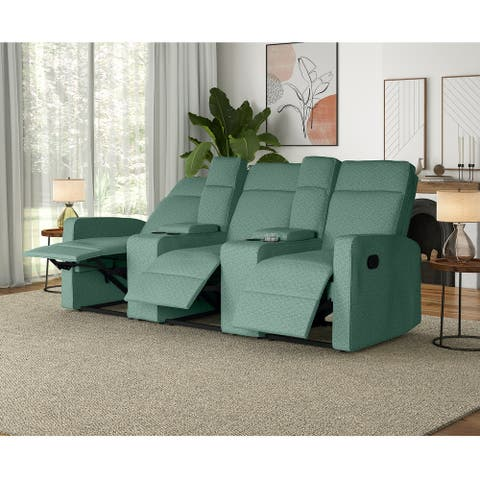 Copper Grove Aaron 3-seat Tweed Recliner Sofa with Storage Consoles