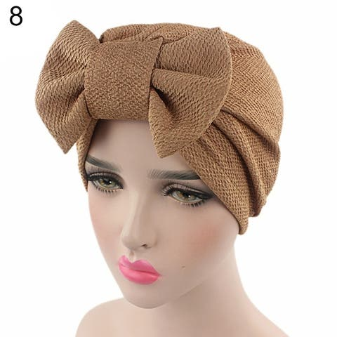 Women Stretchy Turban Cancer Chemo Cap Bowknot Pleated Headwrap Hair Hjab Hat