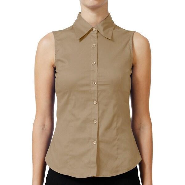 NE PEOPLE Womens Basic Tailored Sleeveless Button Down Shirt [NEWT15]