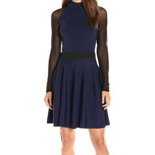Rachel Roy NEW Blue Women's Size Medium M Mock Neck Knit Sheath Dress