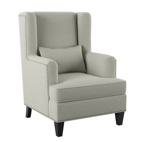 Emerald Home Isabella Natural and Slate Blue Accent Chair