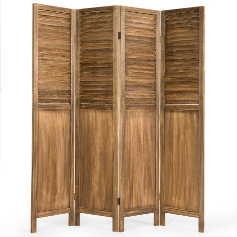 Costway 4 Panel Folding Privacy Room Divider Screen Home Furniture 5.6