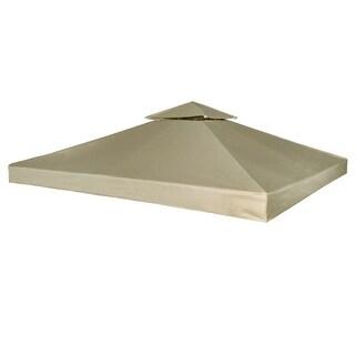 vidaXL Gazebo Canopy Top 10'x10' Beige Replacement Cover 2 Tier Outdoor Patio