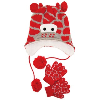 Wippette Toddler Boys Winter Sherpa Lined Giraffe Micro Hat and Glove Set 2T-4T - toddler girls