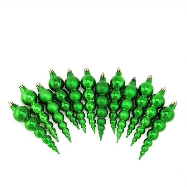 12ct Shiny and Matte Xmas Green Finial Shatterproof Christmas Ornaments 6""