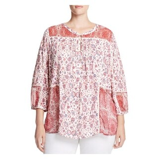 Lucky Brand Womens Plus Tunic Top Henley Printed
