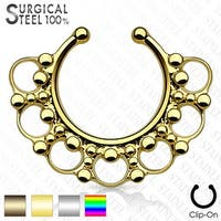 316L Surgical Steel Fake Septum Hanger Beaded Tribal Fan (Sold Ind.)