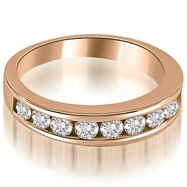 1.10 cttw. 14K Rose Gold Classic Channel Set Round Cut Diamond Wedding Ring