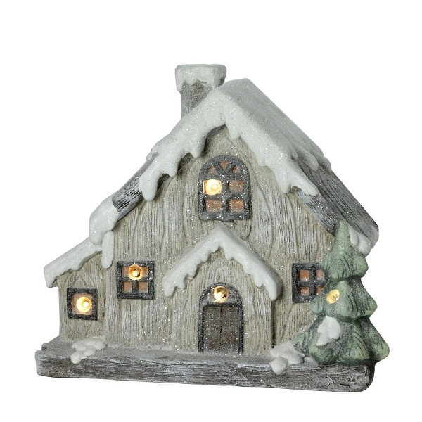 12 Led Lighted Battery Operated Rustic Glittered House Christmas Decoration Brown