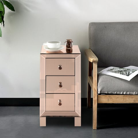 Modern Mirrored Nightstand Bedside Table Rose with 3-Drawers