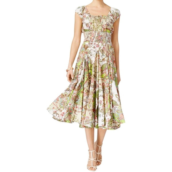Grace Elements Womens Casual Dress Paisley Smocked - Free ...