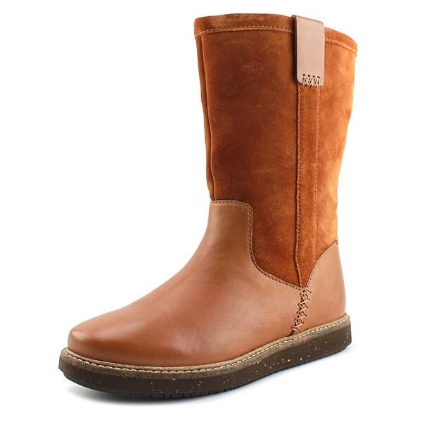 Clarks Narrative Glick Elmfield Women Tan Combi Snow Boots