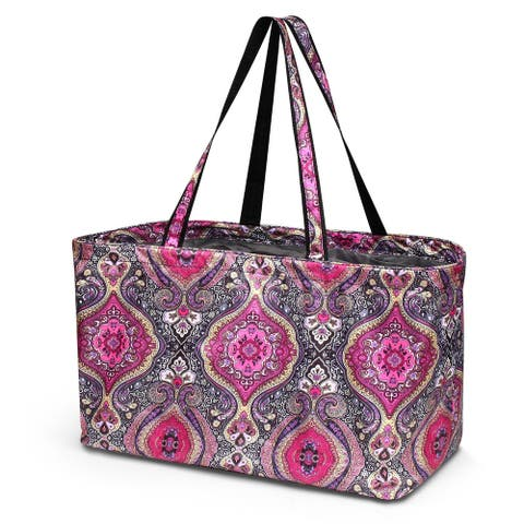 Zodaca Large Utility Magnetic Clasp Tote Bag with 6 Inside Open Pockets for Grocery Shopping Laundry - Purple Paisley