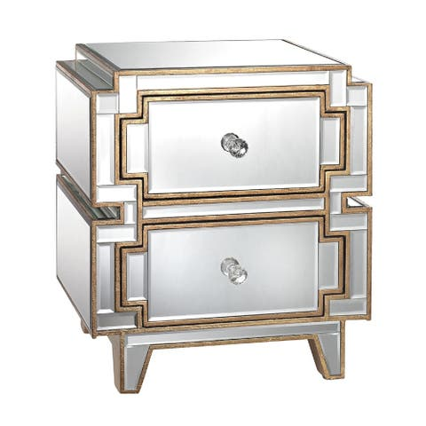 "23"" Clear and Gold 2-Drawer Hollywood Chest"