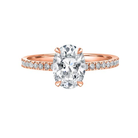 Auriya 1 1/3 ct Oval Cut with Hidden Halo Diamond Engagement Ring in 14k Gold